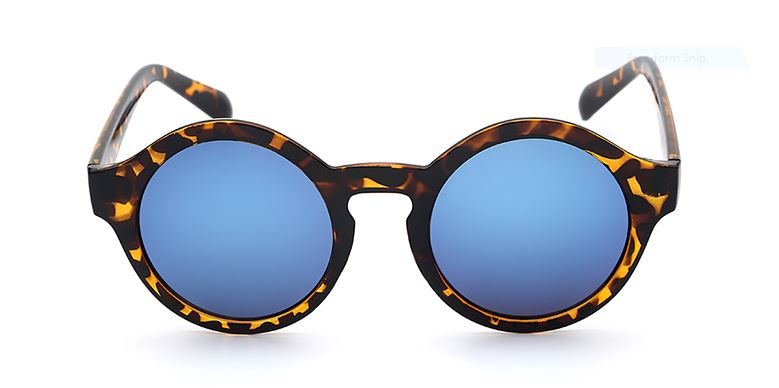 Leopard Frame With Blue Mirrored Lens