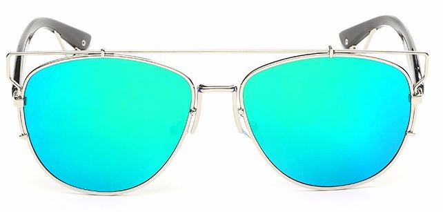 Silver Frame With Green Lens