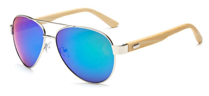 Silver Frame With Blue-Green Lens
